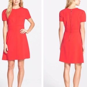 Cap Sleeved A Line Red Dress