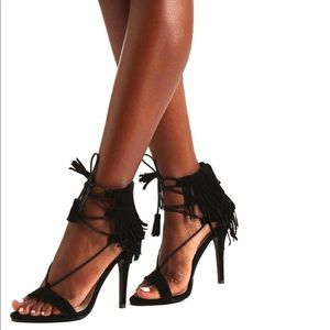 NEW! Black fringe tassel cape robin lace up heels