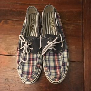 Red, white and blue plaid sperrys
