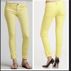 Current Elliot yellow skinny jeans