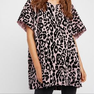 Free People pink & black leopard oversized poncho