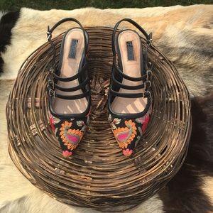Topshop Embroidered Block Heels