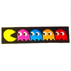 Accessories - Pacman Patch, Retro Iron On Pacman Ghost Embroider