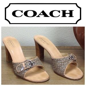Coach Tan Logo Mule Sandals w/ Block Heel