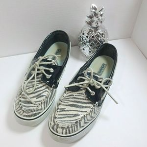 Sperry Boatshoe Zebra Print Sequin Patent Leather