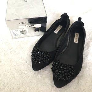 Kelsi Dagger black pointed toe flats