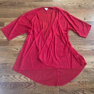 Lularoe Lindsey red sheer cardigan size medium
