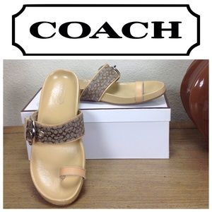 Coach Tan Logo Sandals w/ Toe Ring