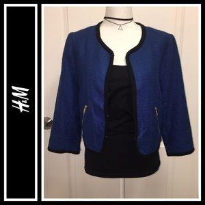 H&M Royal Blue and Black Cropped Blazer