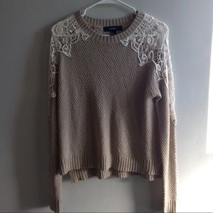 LIKE NEW F21 Lace Shoulder Sweater