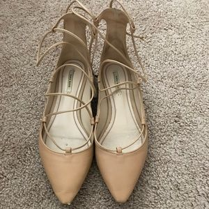 Zara lace up ballet flats nude