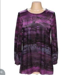 Simply Vera purple abstract long sleeve top - sz 8