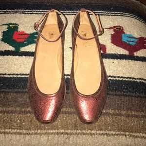 Frye Metallic Red Leather Flats with Ankle Straps