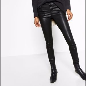 Zara Denim Faux Leather Black Pants Small