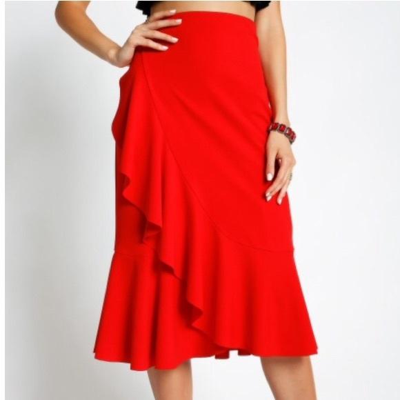 Dresses & Skirts - Red ruffle midi skirt