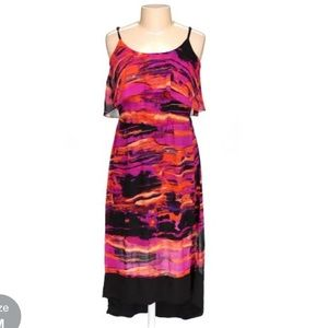 Kensie abstract sunset high low dress -sz M