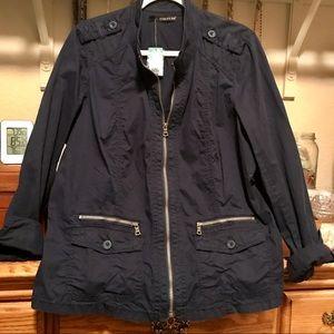 Cotton Navy Zip Jacket