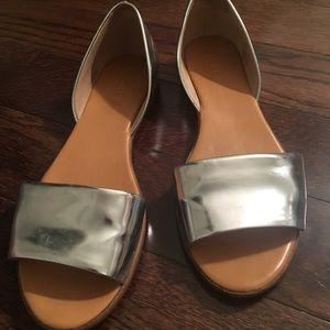 Jcrew Metallic Flat Sandals Size 7.5