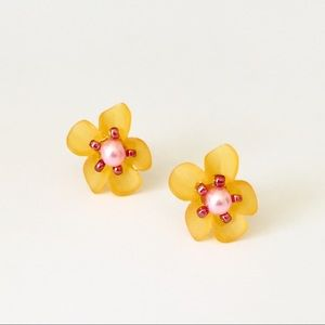 Jewelry - Yellow Orange Pink & Red Orchid Stud Earrings