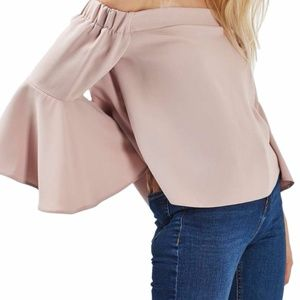 Topshop Pink Bell-Sleeve Off the Shoulder Crop Top