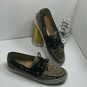 Sperry Boatshoe leopard print patent leather