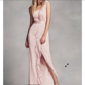 Long One-Shoulder Dress with Ruffles