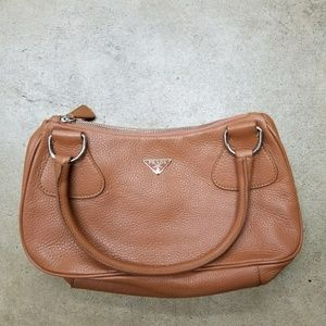 Prada Leather Shoulder Bag Camel