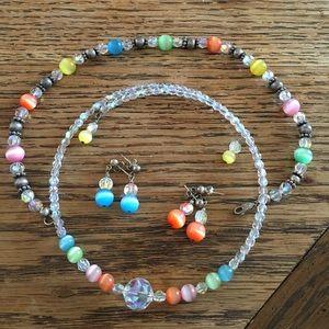 1 Necklace, 1 Bracelet, 2 Earrings Set