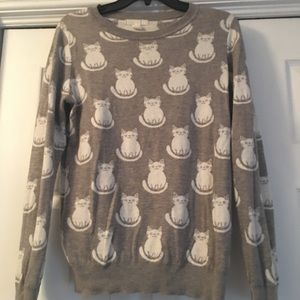 Forever 21 Gray reversible cat sweater SMALL