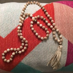 Beautiful Mala Bead Necklace with Leather Tassel
