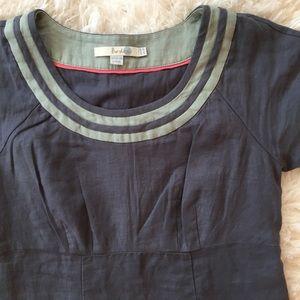 Bowden Grey Blue Linen Dress with Moss Stripes 4P