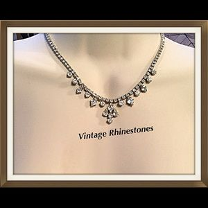 Vintage Rhinestone Necklace, 1950's Rhinestones