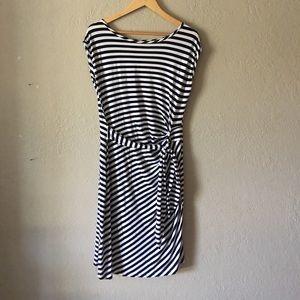 Spense navy and white knit faux wrap dress