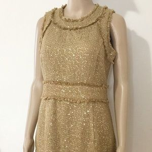 MICHAEL Michael Kors  Metallic Gold Tweed Dress