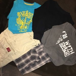 Boys Sz M Shirt 10 Pant Bundle EUC 5 Items