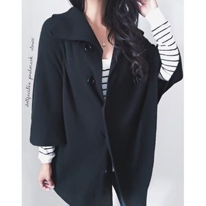 Black Knit Cape Cardigan