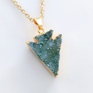 Gold-plated genuine agate druzy arrowhead necklace