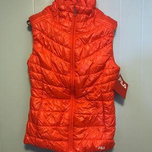 Fila Quilted Puffer zippered Vest Bright Orange