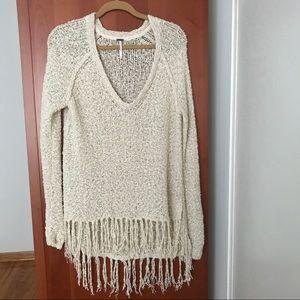Free People fringe sweater M medium Cream