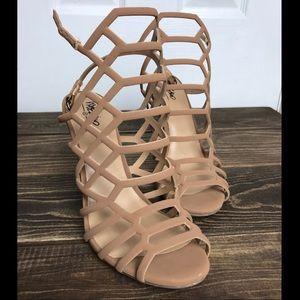 Nude Gladiator Sandal Heels 8 1/2