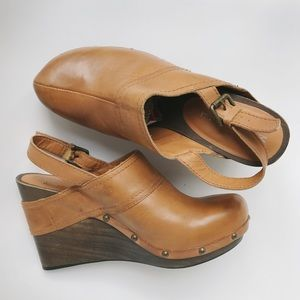 Michael Kors Leather Wooden Clogs