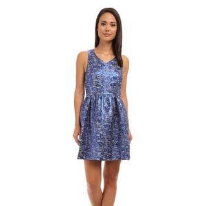Kensie Blue Metallic Knit V Neck Flared Dress