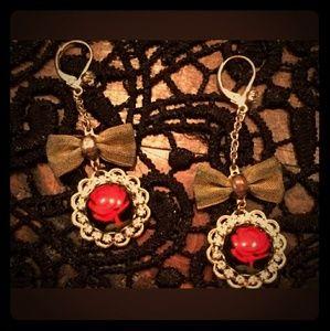 Betsey Johnson ROCKABILLY Red Lucite Rose Earrings