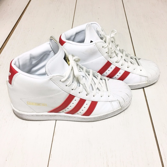 best website 71814 e960e Adidas superstar high top White and Red
