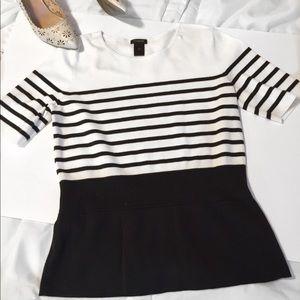 Ann Taylor Striped Peplum Sweater Size M