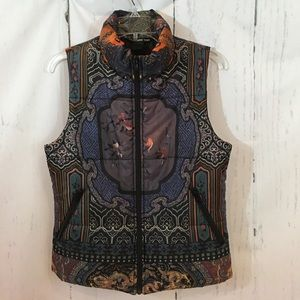 Vivienne Tam Asian Print Quilted Puffer Vest