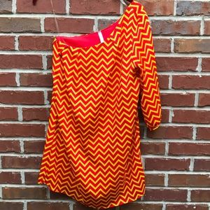 Cocolove Red Yellow Chevron Dress w one Sleeve M