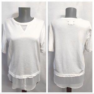 Lou & Grey • Short Sleeve Cream Layered Blouse