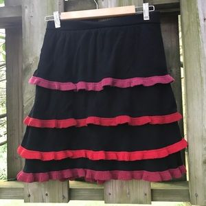 Anthropologie Layered Tiered Ruffle Sweater Skirt