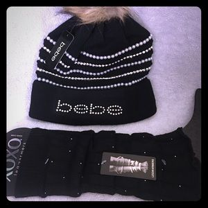 BEBE BLING HAT WITH MATCHING LEG WARMERS